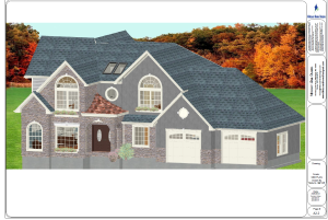 3D Exterior Perspective of a home designed by Teresa with Midcoast Home Designs