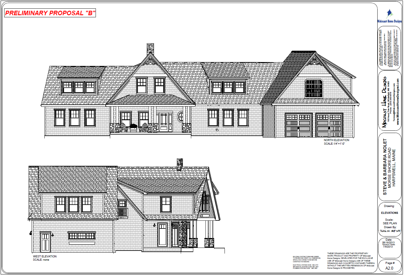 Nolet elevations for Midcoast home designs