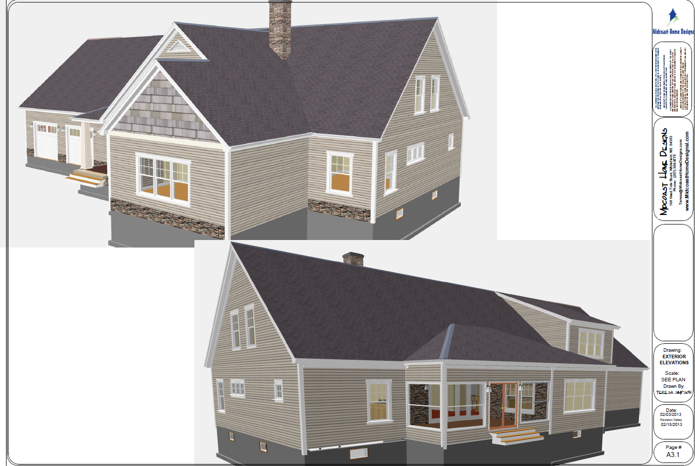 Purinton exterior perspective for Midcoast home designs